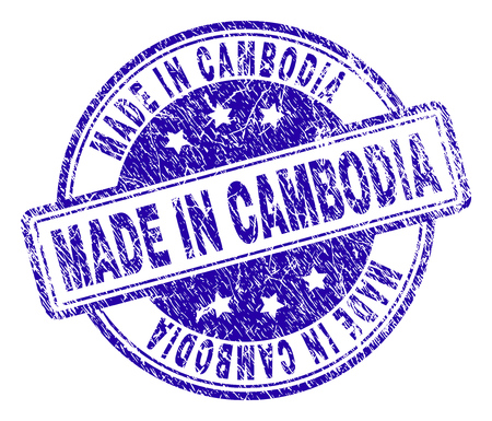 MADE IN CAMBODIA stamp seal watermark with distress texture. Designed with rounded rectangles and circles. Blue vector rubber print of MADE IN CAMBODIA caption with scratched texture.