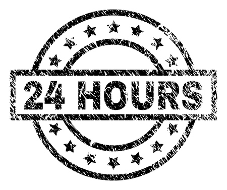 24 HOURS stamp seal watermark with distress style. Designed with rectangle, circles and stars. Black vector rubber print of 24 HOURS title with dust texture.