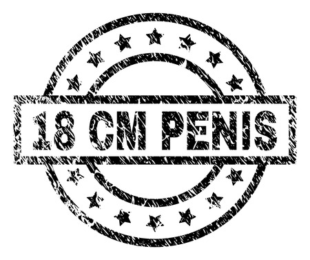 18 CM PENIS stamp seal watermark with distress style. Designed with rectangle, circles and stars. Black vector rubber print of 18 CM PENIS tag with scratched texture.