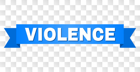 VIOLENCE text on a ribbon. Designed with white title and blue stripe. Vector banner with VIOLENCE tag on a transparent background.