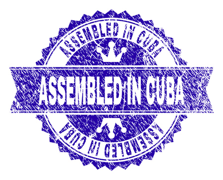 ASSEMBLED IN CUBA rosette stamp watermark with grunge style. Designed with round rosette, ribbon and small crowns. Blue vector rubber print of ASSEMBLED IN CUBA tag with grunge style.