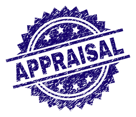 APPRAISAL stamp seal watermark with distress style. Blue vector rubber print of APPRAISAL tag with dirty texture. Stock Vector - 126841088