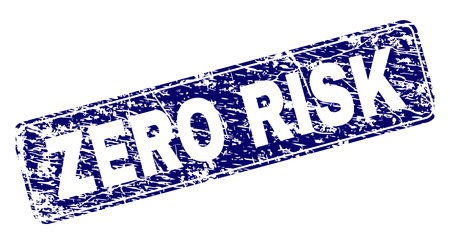 ZERO RISK stamp seal print with distress style. Seal shape is a rounded rectangle with frame. Blue vector rubber print of ZERO RISK title with dust texture. Illustration