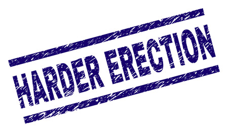 HARDER ERECTION seal print with distress style. Blue vector rubber print of HARDER ERECTION title with unclean texture. Text title is placed between parallel lines.