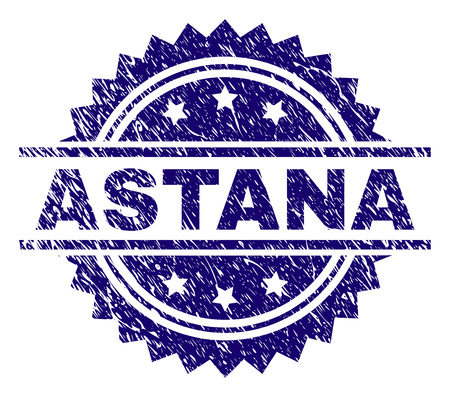 ASTANA stamp seal watermark with distress style. Blue vector rubber print of ASTANA title with unclean texture.