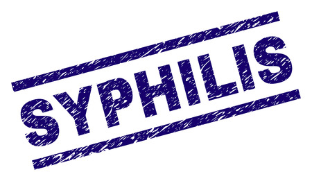 SYPHILIS seal print with grunge style. Blue vector rubber print of SYPHILIS text with grunge texture. Text tag is placed between parallel lines. Illustration