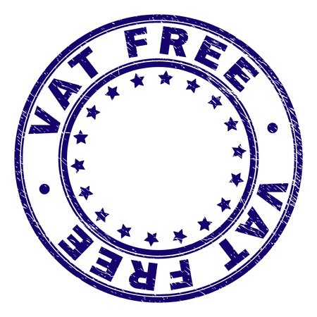 VAT FREE stamp seal imprint with distress texture. Designed with circles and stars. Blue vector rubber print of VAT FREE title with scratched texture.