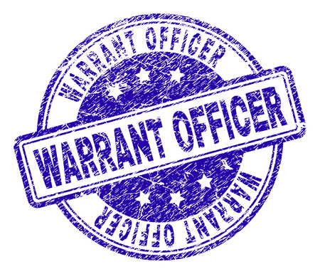 WARRANT OFFICER stamp seal watermark with distress texture. Designed with rounded rectangles and circles. Blue vector rubber print of WARRANT OFFICER title with scratched texture.