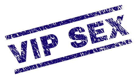 VIP SEX seal print with scratced style. Blue vector rubber print of VIP SEX label with scratched texture. Text label is placed between parallel lines.