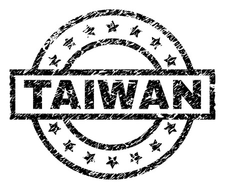 TAIWAN stamp seal watermark with distress style. Designed with rectangle, circles and stars. Black vector rubber print of TAIWAN title with dust texture.