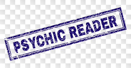 PSYCHIC READER stamp seal watermark with rubber print style and double framed rectangle shape. Stamp is placed on a transparent background. Stock Illustratie