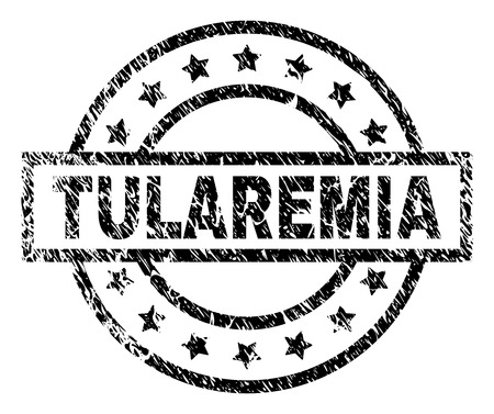 TULAREMIA stamp seal watermark with distress style. Designed with rectangle, circles and stars. Black vector rubber print of TULAREMIA label with unclean texture. Illustration
