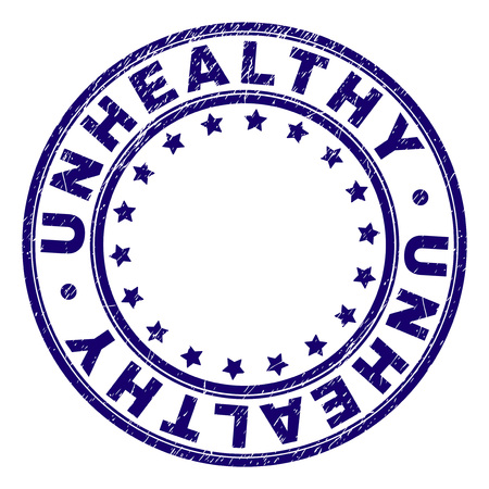 UNHEALTHY stamp seal imprint with grunge texture. Designed with circles and stars. Blue vector rubber print of UNHEALTHY caption with corroded texture. Ilustrace