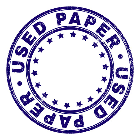 USED PAPER stamp seal watermark with distress texture. Designed with circles and stars. Blue vector rubber print of USED PAPER tag with scratched texture.