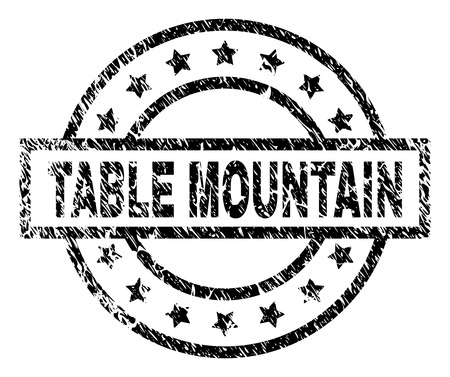 TABLE MOUNTAIN stamp seal watermark with distress style. Designed with rectangle, circles and stars. Black vector rubber print of TABLE MOUNTAIN tag with scratched texture.