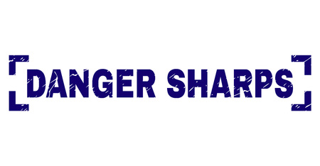 DANGER SHARPS label seal print with distress texture. Text label is placed inside corners. Blue vector rubber print of DANGER SHARPS with corroded texture.