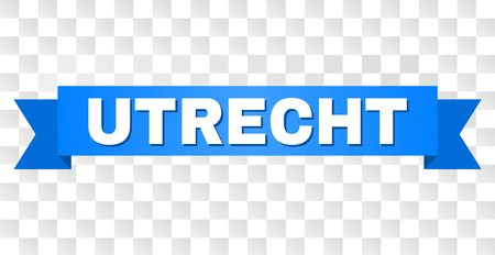 UTRECHT text on a ribbon. Designed with white title and blue tape. Vector banner with UTRECHT tag on a transparent background. Illustration