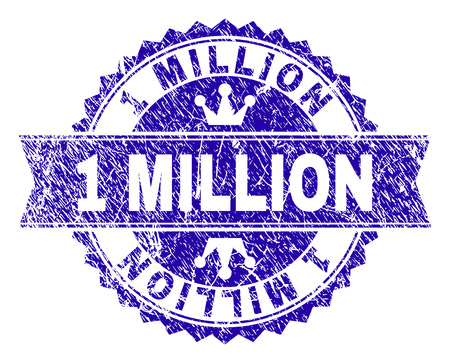 1 MILLION rosette stamp seal watermark with distress style. Designed with round rosette, ribbon and small crowns. Blue vector rubber print of 1 MILLION text with grunge style.