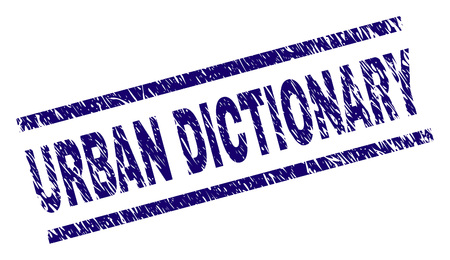 URBAN DICTIONARY seal print with grunge style. Blue vector rubber print of URBAN DICTIONARY label with unclean texture. Text label is placed between parallel lines.
