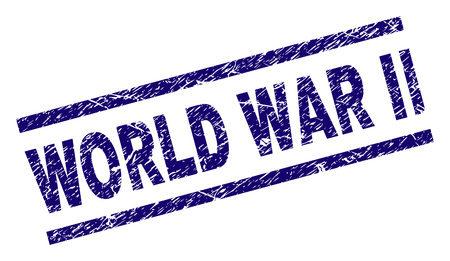 WORLD WAR II seal print with grunge style. Blue vector rubber print of WORLD WAR II tag with scratched texture. Text tag is placed between parallel lines.