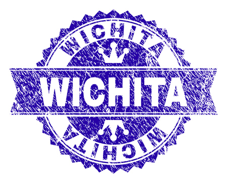 WICHITA rosette seal watermark with grunge texture. Designed with round rosette, ribbon and small crowns. Blue vector rubber watermark of WICHITA title with unclean texture. Illustration