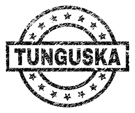 TUNGUSKA stamp seal watermark with distress style. Designed with rectangle, circles and stars. Black vector rubber print of TUNGUSKA title with scratched texture. Foto de archivo - 126804088