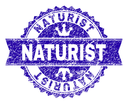 NATURIST rosette stamp watermark with grunge style. Designed with round rosette, ribbon and small crowns. Blue vector rubber watermark of NATURIST label with grunge texture. Illusztráció