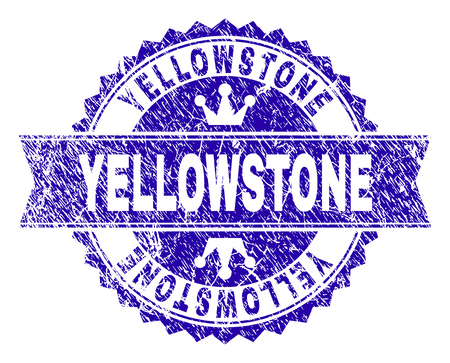 YELLOWSTONE rosette stamp seal overlay with distress style. Designed with round rosette, ribbon and small crowns. Blue vector rubber watermark of YELLOWSTONE text with retro style.