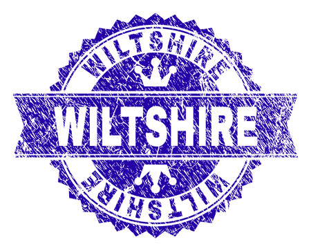 WILTSHIRE rosette stamp seal watermark with grunge style. Designed with round rosette, ribbon and small crowns. Blue vector rubber watermark of WILTSHIRE text with unclean texture.