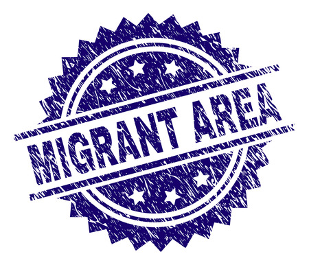 MIGRANT AREA stamp seal watermark with distress style. Blue vector rubber print of MIGRANT AREA caption with grunge texture. Illustration