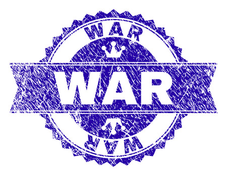 WAR rosette stamp seal overlay with distress texture. Designed with round rosette, ribbon and small crowns. Blue vector rubber watermark of WAR title with retro texture.