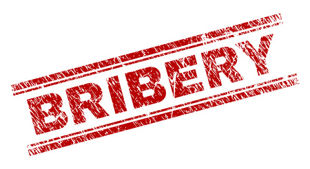 BRIBERY seal print with distress texture. Red vector rubber print of BRIBERY tag with corroded texture. Text title is placed between double parallel lines.