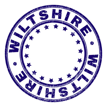 WILTSHIRE stamp seal imprint with grunge texture. Designed with round shapes and stars. Blue vector rubber print of WILTSHIRE text with unclean texture. Illustration