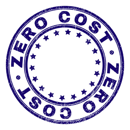 ZERO COST stamp seal watermark with distress texture. Designed with round shapes and stars. Blue vector rubber print of ZERO COST title with grunge texture. Çizim