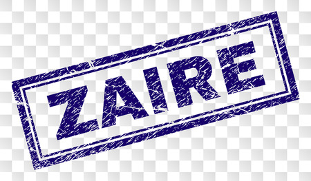 ZAIRE stamp seal print with scratched style and double framed rectangle shape. Stamp is placed on a transparent background. Blue vector rubber print of ZAIRE title with grunge texture.