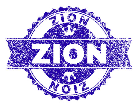ZION rosette stamp watermark with distress style. Designed with round rosette, ribbon and small crowns. Blue vector rubber watermark of ZION title with corroded style. Ilustração