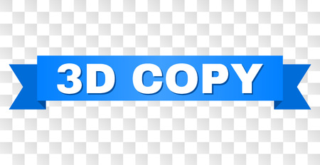 3D COPY text on a ribbon. Designed with white title and blue stripe. Vector banner with 3D COPY tag on a transparent background.