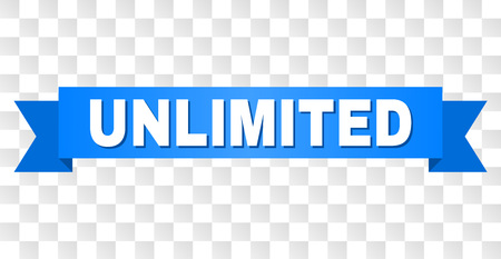 UNLIMITED text on a ribbon. Designed with white caption and blue stripe. Vector banner with UNLIMITED tag on a transparent background. 向量圖像