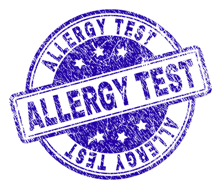 ALLERGY TEST stamp seal watermark with grunge texture. Designed with rounded rectangles and circles. Blue vector rubber print of ALLERGY TEST tag with retro texture.