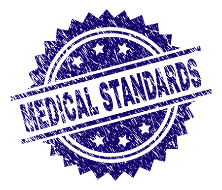MEDICAL STANDARDS stamp seal watermark with distress style. Blue vector rubber print of MEDICAL STANDARDS title with grunge texture.