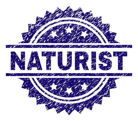 NATURIST stamp seal watermark with distress style. Blue vector rubber print of NATURIST caption with dirty texture.