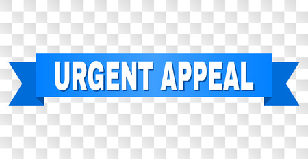 URGENT APPEAL text on a ribbon. Designed with white caption and blue stripe. Vector banner with URGENT APPEAL tag on a transparent background. Illustration
