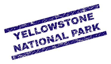 YELLOWSTONE NATIONAL PARK seal watermark with distress style. Blue vector rubber print of YELLOWSTONE NATIONAL PARK text with grunge texture. Text title is placed between parallel lines.