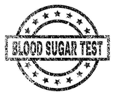 BLOOD SUGAR TEST stamp seal watermark with distress style. Designed with rectangle, circles and stars. Black vector rubber print of BLOOD SUGAR TEST title with corroded texture. Ilustração
