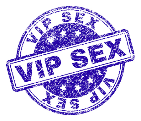 VIP SEX stamp seal watermark with grunge texture. Designed with rounded rectangles and circles. Blue vector rubber print of VIP SEX label with corroded texture.