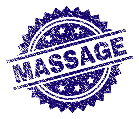 MASSAGE stamp seal watermark with distress style. Blue vector rubber print of MASSAGE text with unclean texture. Illustration