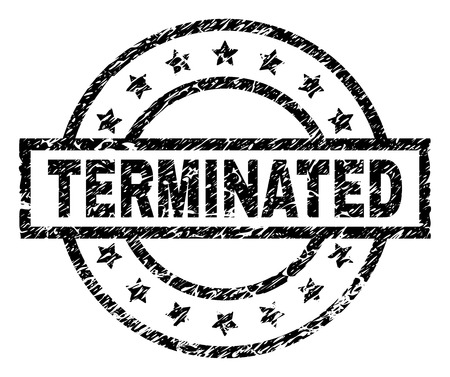 TERMINATED stamp seal watermark with distress style. Designed with rectangle, circles and stars. Black vector rubber print of TERMINATED title with dust texture.