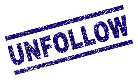 UNFOLLOW seal print with grunge style. Blue vector rubber print of UNFOLLOW caption with dust texture. Text caption is placed between parallel lines.