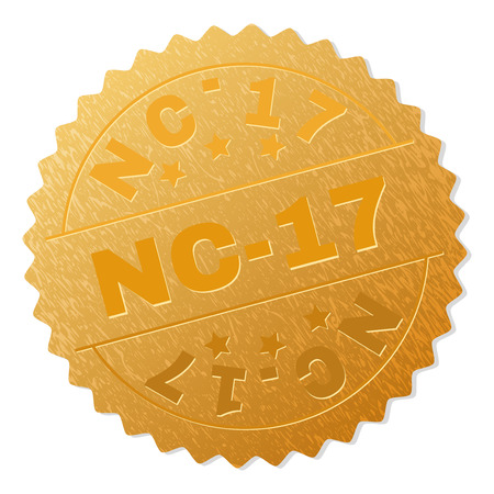 NC-17 gold stamp seal. Vector gold medal with NC-17 text. Text labels are placed between parallel lines and on circle. Golden skin has metallic texture.