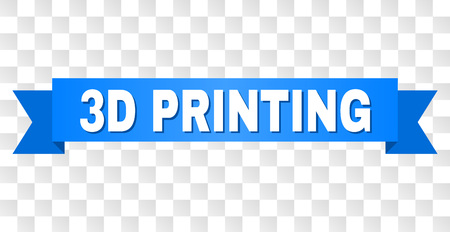 3D PRINTING text on a ribbon. Designed with white title and blue stripe. Vector banner with 3D PRINTING tag on a transparent background. Illustration